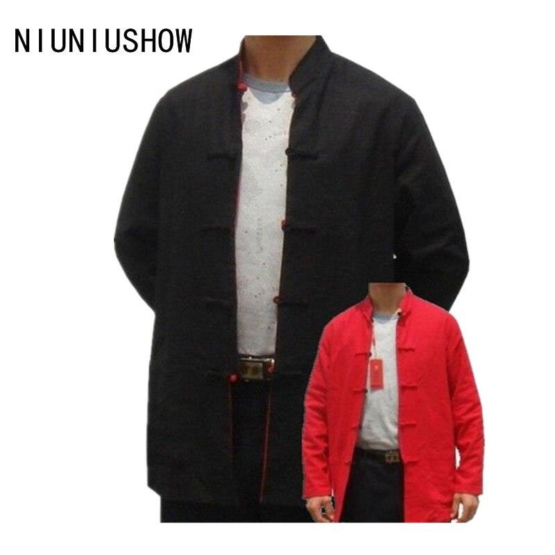 שחור-אדום הפיך גברים סיניים כותנה פשתן שני פנים מעיל מעיל עם כיס גודל S M L XL XXL XXXL משלוח חינם 2973-2
