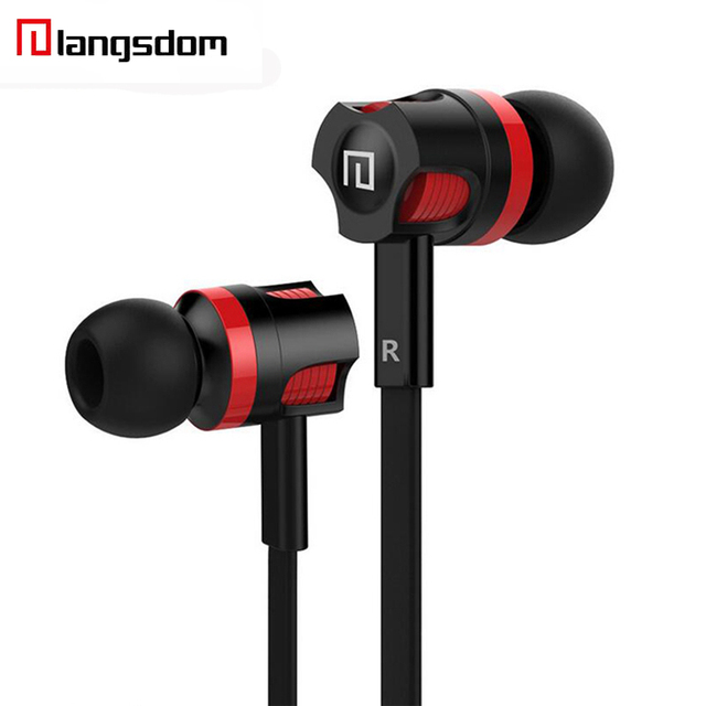 Langsdom JM26 Earphone Ear Tips Wired With Mic Headset Wire Control In-ear Music Earphones For Samsung iPhone  For MP3