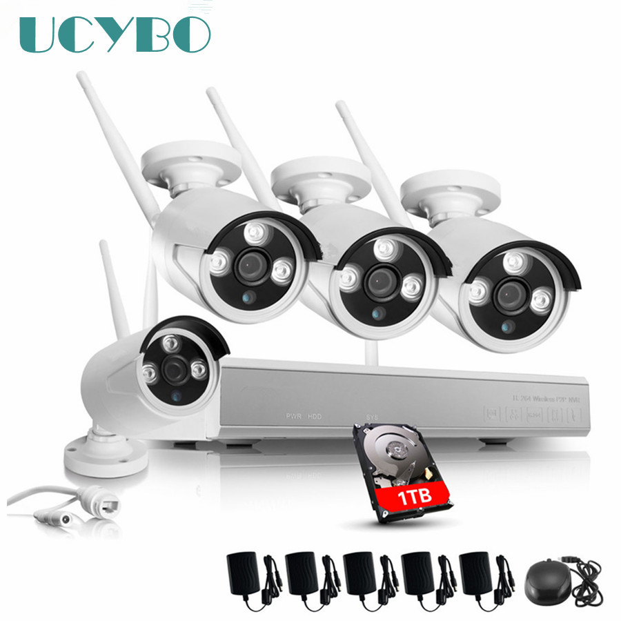 4CH Wireless WIFI IP Camera NVR Surveillance Kit 1.3MP 960P HD ONVIF P2P outdoor Waterproof Security Alarm 1080P NVR CCTV System