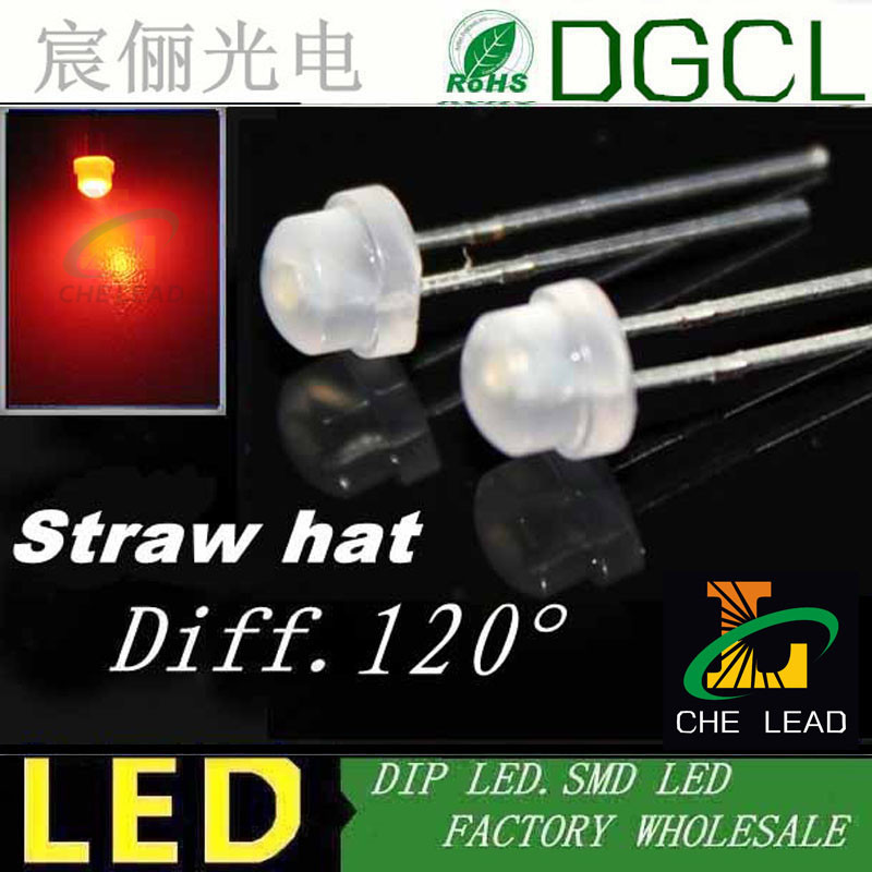 8mm Straw Hat Led: Milky Diffused 4.8mm Led Red Straw Hat Dip Led 120 Wide