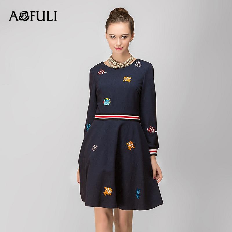 Broderie Vintage Aofuli Hiver 4xl Printemps M À 5xl 2018 3xl Femmes Taille Robes Bleu Marque Manches Longues Plus Robe waxavTr
