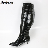 Sorbern Custom Calf Wide Ladys Knee High Boot Low Heel Wide Fit Shoes Ladies Woman Shoes 2018 Spring Custom Colors Pointed Toe