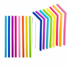 16pcs/lot Reusable Drinking Straw Silicone Straws Party Barware Accessories + 2 Cleaner Brush Set For Home Bar