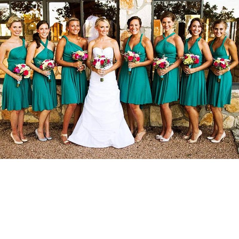 Infinity Short Dress Teal Bridesmaid Dress  Elegant Multi Way Dress Convertible Wrap Dress With Criss-Cross Style