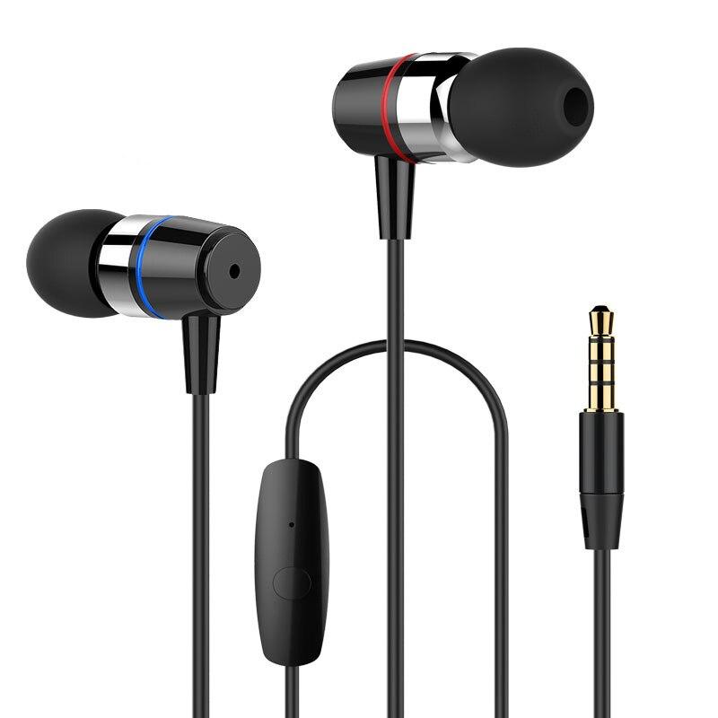Auriculares auriculares estéreo de auriculares bajo con micrófono para iPhone Samsung Xiaomi música MP3 MP4 Android