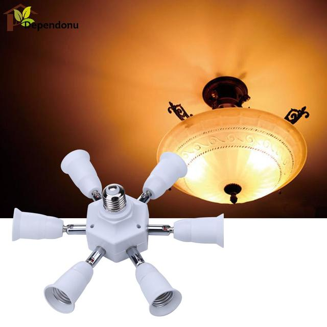 Universal E27 To 6 + 1 E27 Flexible Extended Light Lamp Bulb Adapter Conversion Socket Head Lamp Holder Converter