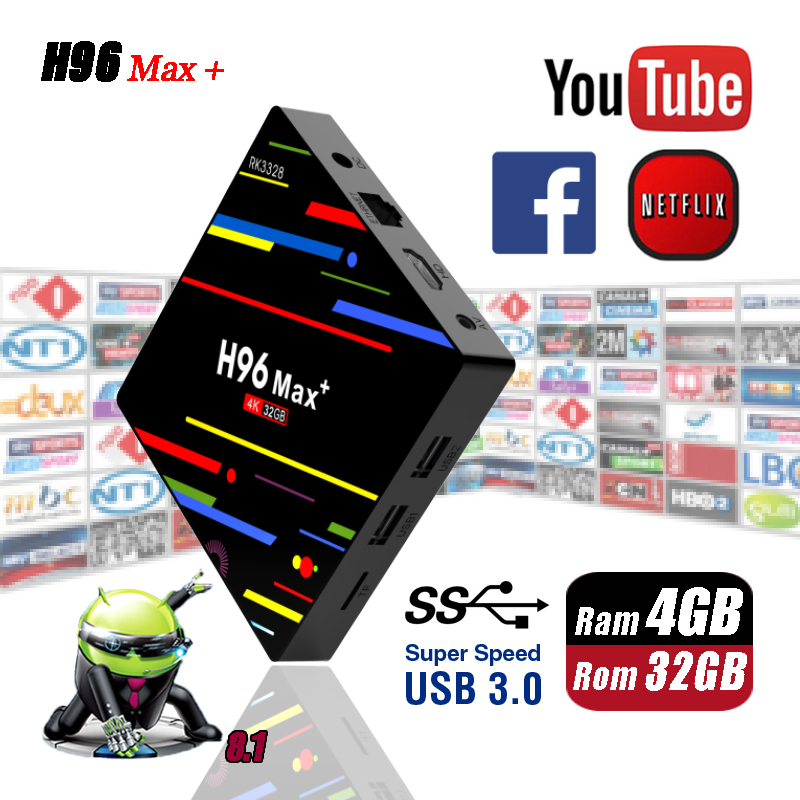 H96 Max + Plus 4G 32G Android 8.1 USB 3.0 Smart TV Box RK3328 Quad-Core 2.4GHz WiFi Set Top Boxes H.265 4K HD Media Player