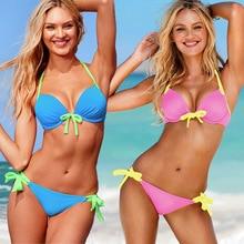 2016 New Sexy Bikinis Women Swimsuit Low Waist Bandage Bathing Suits Swim Halter Top Push Up Bikini Set Beach Plus Size Swimwear