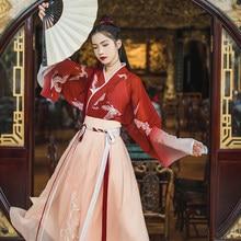 2019 new traditional hanfu v-neck printed ladies suit