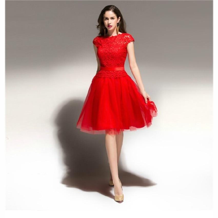 Popular Knee Length Graduation Dress Red-Buy Cheap Knee Length ...