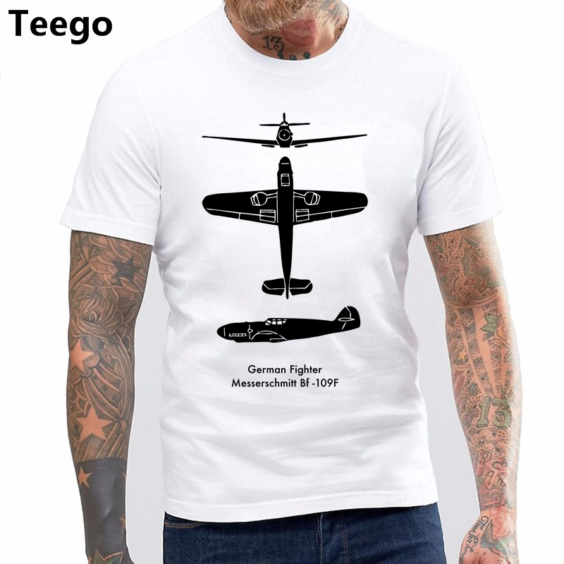 MESSERSCHMITT ME 109 BF TECH DRAWING MENS T SHIRT PLANE AIRCRAFT AIRPLANE GERMAN New Fashion T-Shirt