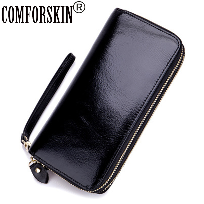 COMFORSKIN 2017 Luxurious 100% Brand Genuine Leather Double Zipper Womens Purse Large Capacity Wallet For Female Carteras Mujer