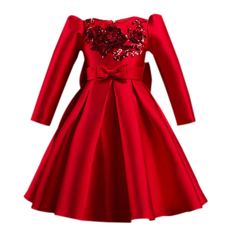 2017 Autumn Winte Fashion Girls Dresses Red party dress Children girls Vestidos princess Costumes girls Evening Prom Kids Clothe uoipae party dress girls 2018 autumn