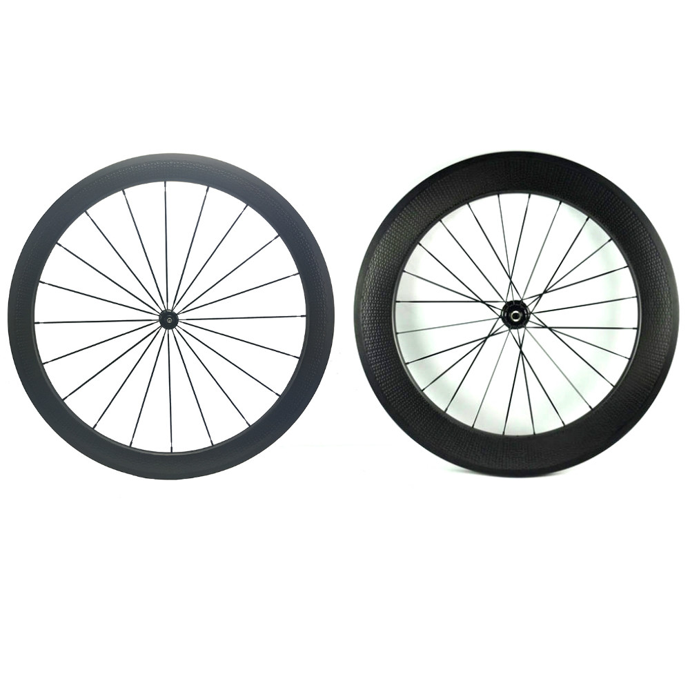 Dimple Surface Carbon Bike Cycling Wheelset front 58 rear 80mm Rims 700C Bicycle Clincher Wheels DT 240 Hub 1420 Spokes 20/24H