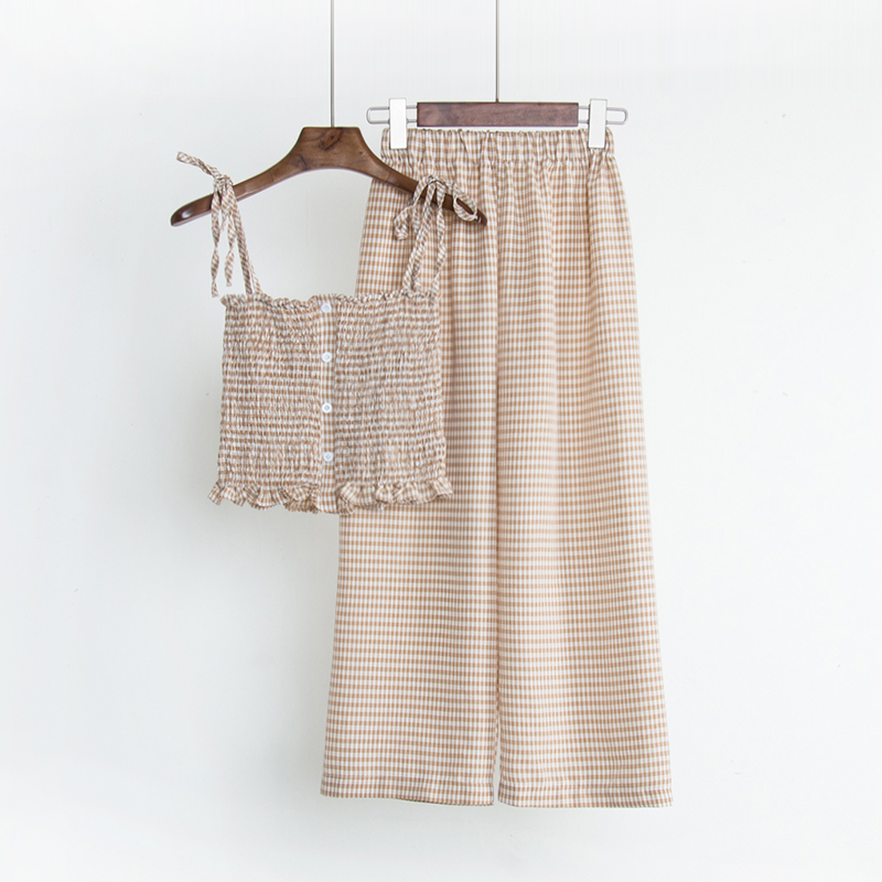 Set female 2018 summer new temperament lattice sleeveless clothes + high waist wide leg pants fashion elegant suit