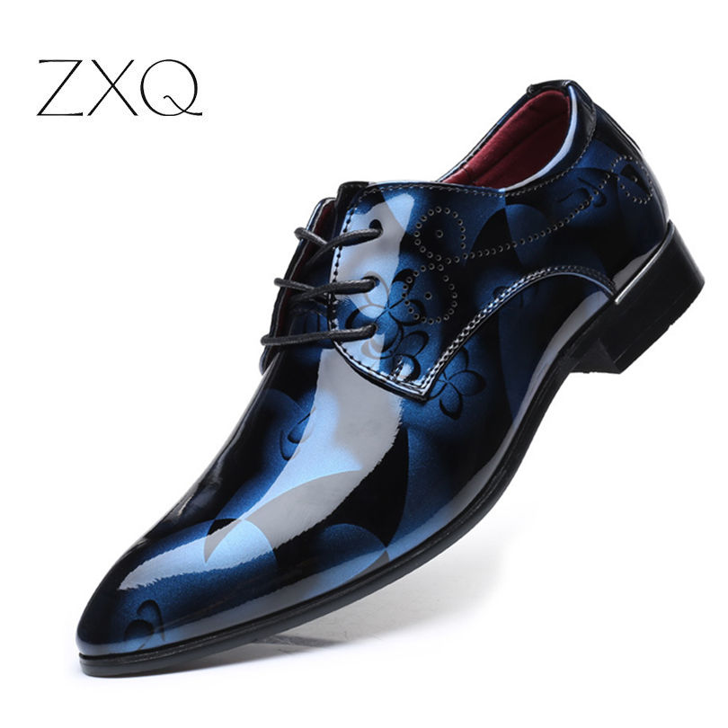 Plus Size Men Formal Dress Shoes Luxury Patent Leather Pointed Toe Floral Pattern Leather Shoes Men Oxford Shoes TYS-35 ozzeg patent leather oxford shoes for men dress shoes men formal shoes pointed toe business wedding plus size 49 50 rme 308