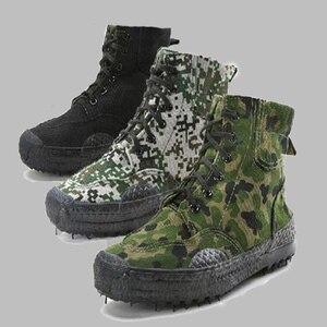 Image 5 - 2019 moda męska Casual buty kamuflażowe męskie zabezpieczenie w pracy wyzwolenie gumowe buty dżungla płótno wysokie buty treningowe