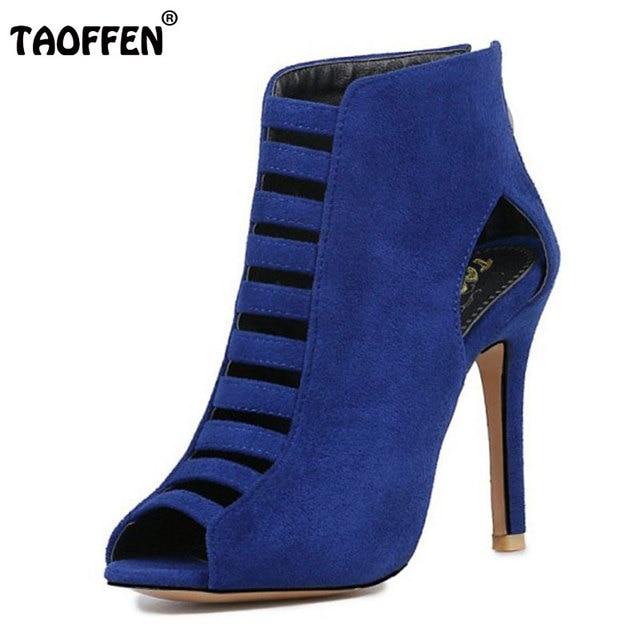 77bddd3a4 TAOFFEN Plus Size 32-46 Gladiador Das Mulheres Sapatos de Saltos Finos Das  Mulheres Sandálias