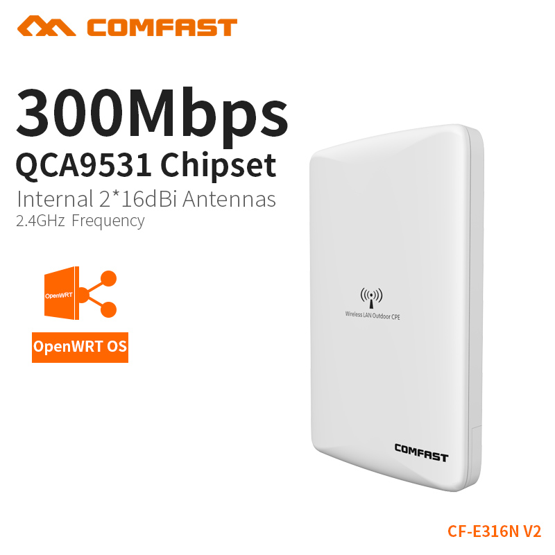 Comfast Wireless Outdoor Router wifi AP 300mbps WIFI signal booster Amplifier Dual 16dBi Antenna wi fi access point CF-E316N comfast cf wr750v2 dual band 750mbps wifi repeater roteador 802 11ac wireless router 2 4 5 8ghz long rang wi fi signal amplifier