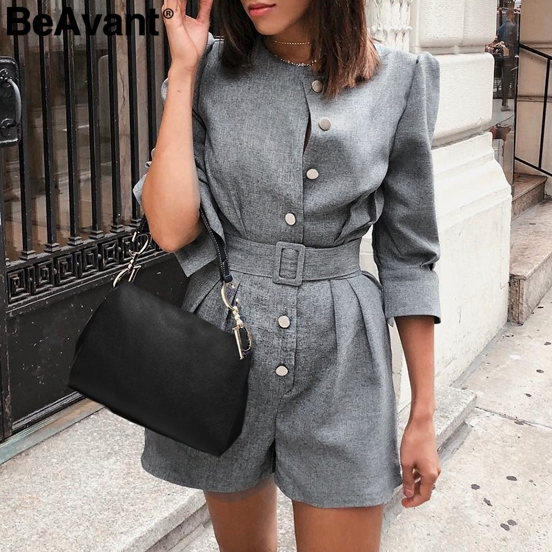 BeAvant Office ladies blazer   jumpsuits   rompers women Button sash female short plasuit Elegant retro autumn winter work overalls