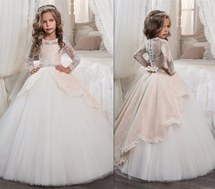 Birthday Pageant Gown for Girl O-neck Beaded Sash Long Sleeve Ball Gown Vestidos Longo Custom Made First Communion Gown pageant dresses for girl butterfly o neck lace up bow sash sleeveless ball gown vestidos longo custom made first communion gown