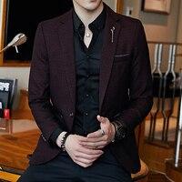Plus Size 5xl Slim Fit Mens Blazer Vintage Suit Jacket Men Chaqueta Hombre F2018 Autumn Blazer Hombre Blazer Masculino Completo