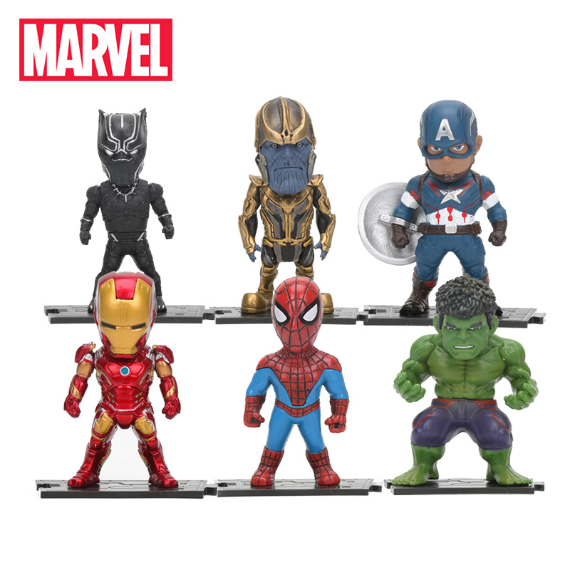 6pcs/set Marvel Toys 8-10cm Avengers Infinity War Thanos Ironman Spiderman Captain Hulk Black Panther Pvc Action Figures Model