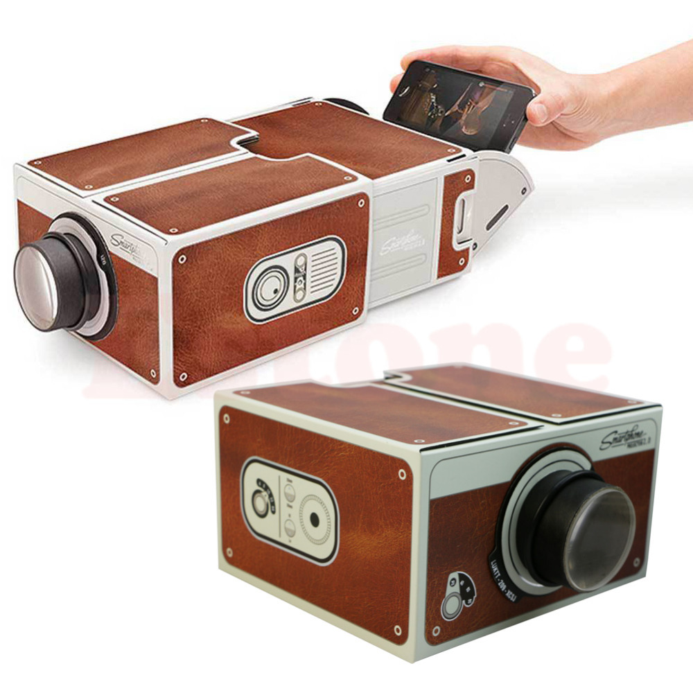 Free Shipping Portable Cardboard Smartphone Projector 2.0 / Assembled Phone Projector Cinema  Drop Shipping