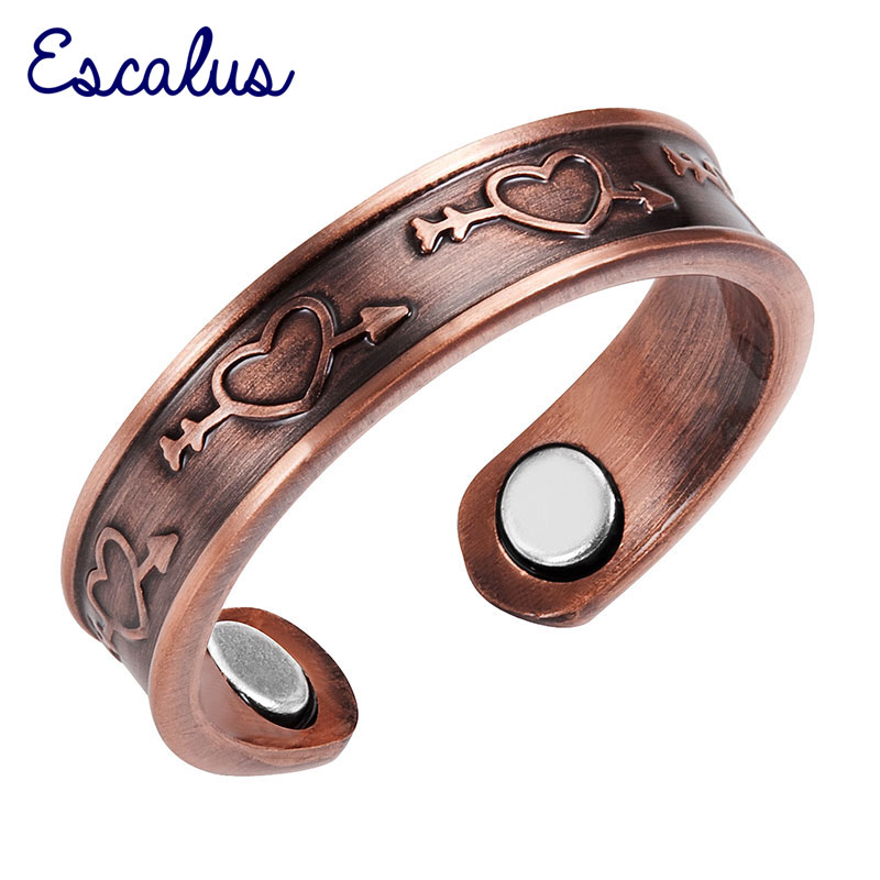 Escalus Ladies Antique Copper Love Heart Arrow Magnetic Ring Resizable Female Magnets Women Jewelry Charm Finger Wear