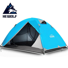 Hewolf Waterproof Tourist Tent ultralight 1~2 Person Double Layer 210T Polyester Aluminum Rod Outdoor Camping Hiking