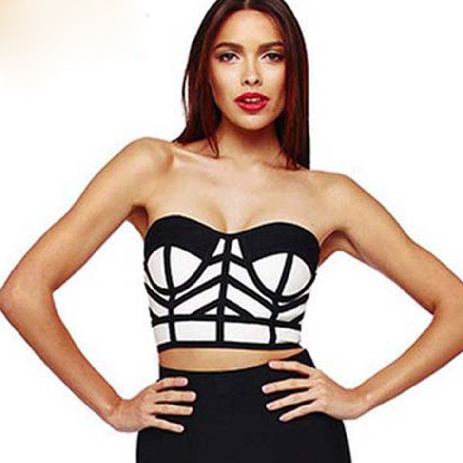 2018 women sexy elastic black white bandage top chic bodycon club strapless tube sleeveless knitted rayon crop top HL406