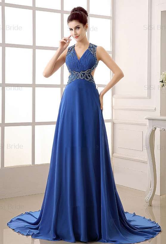 The new design of the open 2015 royal blue dress crystal - Designer red carpet dresses ...