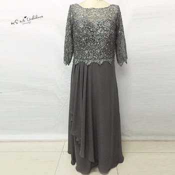 Dark Grey Long Sleeve Mother of the Bride Lace Dresses Plus Size Sequined Formal Women Evening Gowns Chiffon Pant Suits Weddings