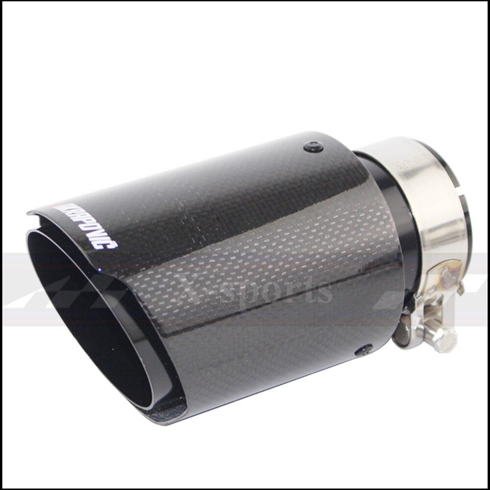 Akrapovic plain tecer brilhante sistema de escape do carro carbono silenciador ponta simples tubos cauda universal em linha reta preto aço inoxidável