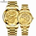 Часы для влюбленных для женщин и мужчин, часы, стальные светящиеся наручные часы, FNGEEN, модные роскошные мужские женские наручные часы, золот...