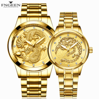 Lovers Watches for Women Men Watch Steel Luminous Wrist Watch FNGEEN Fashion Luxury Male Clock Female Watch Gold Couple Watches
