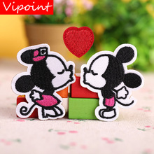 VIPOINT embroidery mouse love heart patches animal badges applique for clothing YX-4