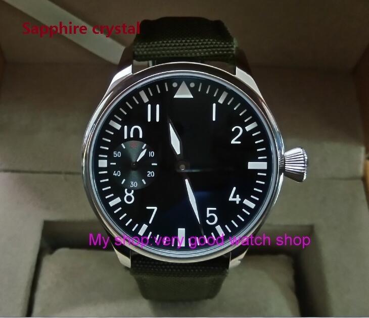 купить Sapphire crystal 44mm PARNIS black dial Asian ST3600/6497 Mechanical Hand Wind movement green Luminous men's watches sd342a по цене 5507.8 рублей