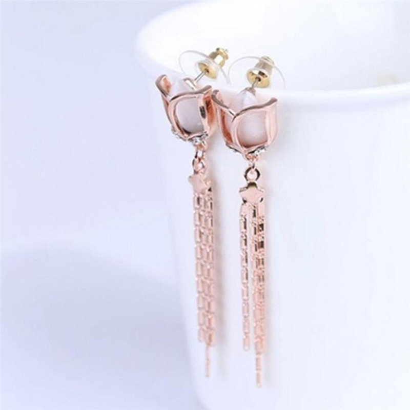 Grace Jun High Quality Long Rose Flower Shape Tassel  Clip on - Fashion Jewelry - Photo 3