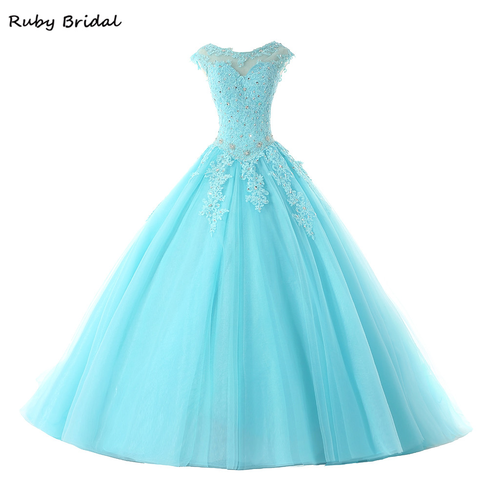 Ruby Bridal 2017 Hot Sale Ball Gown Quinceanera Dresses Long Blue Tulle Appliques Beaded Cap Sleeves