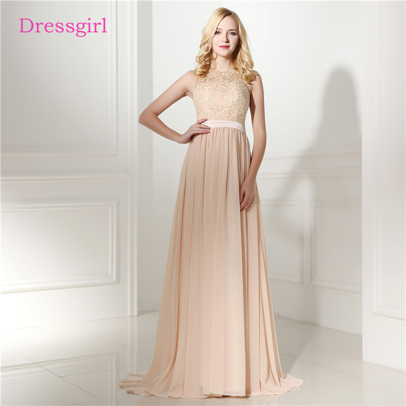 Champagne 2018 Cheap Bridesmaid Dresses Under 50 A line High Collar See Through Chiffon Lace Long Wedding Party Dresses