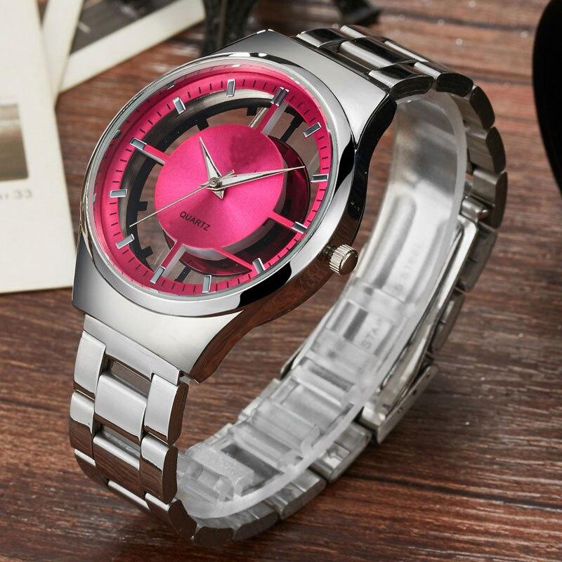 2017 Fashion Women Watch Casual Quartz Unique Stylish Hollow Skeleton Watches Steel Brand Luxury Transparent Women Wristwatches