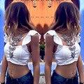 Nuevo 2016 verano mujer Sexy Backless Strappy Bra camisa corta blusas para mujer blusa de la gasa Halter chaleco Tops Beach t-shirt Z1