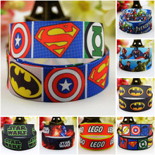 "7/8 ''22mm, 1"" 25mm, 1-1/2 ""38mm, 3"" 75mm LOGO Batman personaje dibujo estampado grogrén cinta decoración fiesta 10 yardasmul065(China)"