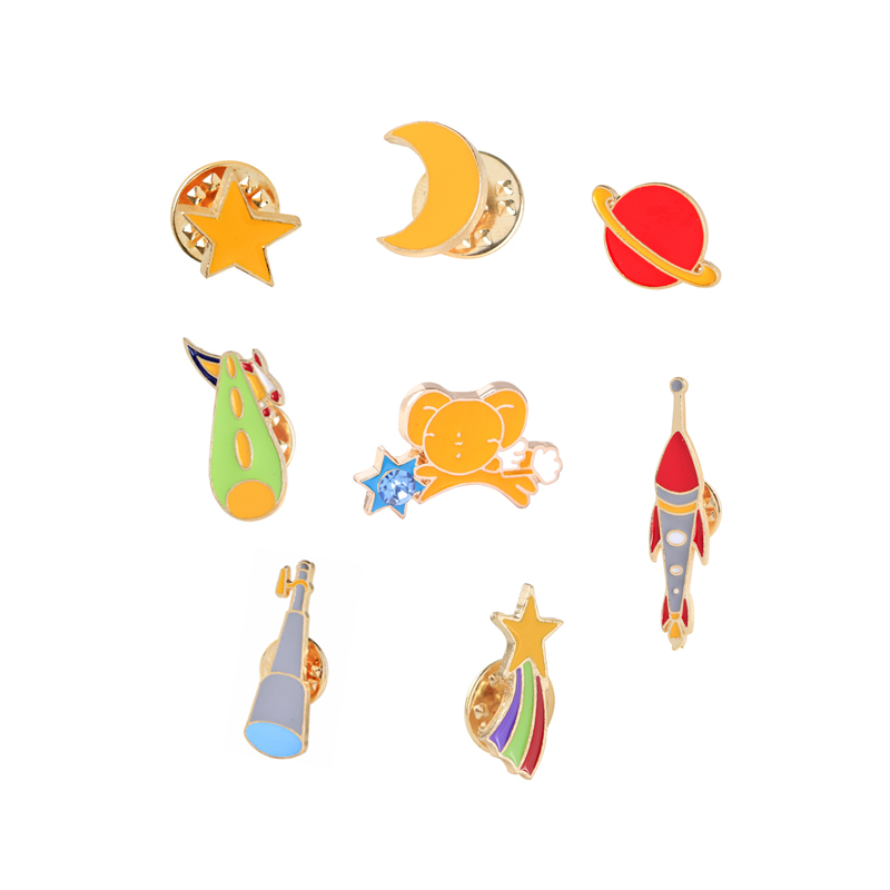 High Quality Fashion Creative Cute Cartoon Red Planet Star Moon Enamel Brooch Pins Shirt Collar Decoration Button Pin Hot Sale