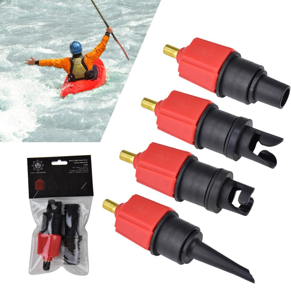 Inflatable Pump Adaptor Air Valve Adapter For Surf Paddle Board Dinghy Canoe Inflatable Boat Tire Compressor Converter 4 Nozzle