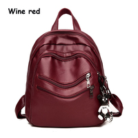 Backpack New Korean Simple Wild Retro Soft PU Leather Large Capacity Bag College Wind Mummy Bag