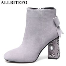 ALLBITEFO Rhinestone heel genuine leather high heels women boots square toe high quality ankle boots girls Motorcycle boots