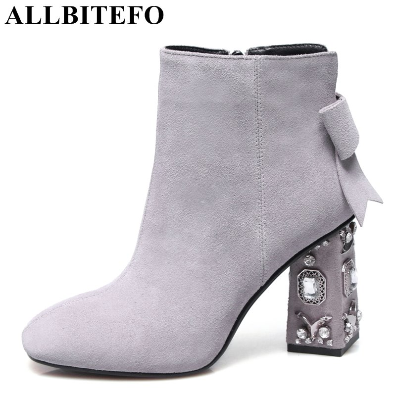 ALLBITEFO Rhinestone heel genuine leather square toe high heels women boots square toe high quality ankle boots girls boots allbitefo new fashion wedges heels genuine leather pointed toe women boots high quality high heels martin boots girls boots
