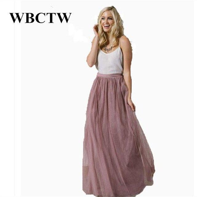 Tulle Skirts Solid Elastic Waist XXS-7XL Plus Size Women Summer Spring Mesh Skirts  Long High Waist Elegant Holiday Skirt 7113015dfb2d